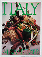 Original Vintage Poster Alka Seltzer Italy Italian Food Sausage Peppers Wine 60s