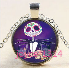 Nightmare Before Christmas Cabochon silver Glass Chain Pendant Necklace #3304