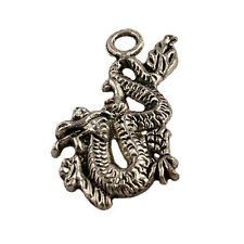 30pcs Tibetan Silver Dragon Charms Pendant Jewelry Findings For Necklace 26x15mm