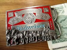 Vintage Budweiser Clydesdale Horses Pewter Enamel Belt Buckle T-169 Made in USA
