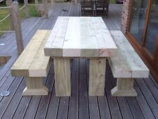 SANDED Wooden Sleeper Outside Or Inside Table And Benches /Garden Furniture