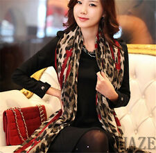 Women Lady Long Wrap Scarf Lady Shawl Gauze Stole Heart Pattern Leopard FR*