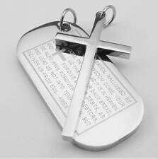 2pcs Mens Stainless Steel Cross English Lord Prayer Dog Tag Pendant Necklace Set