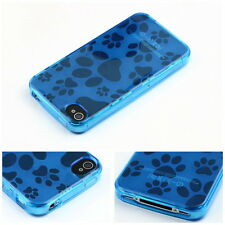 Dog Paw Print TPU Rubber Gel Case Cover Skin For Apple iPhone 4 4S 4G QT