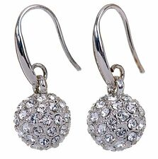 Swarovski Elements Crystal Ball Earrings Rhodium Plated New 7152a