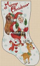 Cross stitch chart  Christmas Stocking 199  FlowerPower37-UK-FREE UK P&P