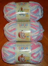 Bernat Baby Blanket Yarn Lot Of 3 Skeins (Pink/Blue #03305) 3.5 oz. Skeins