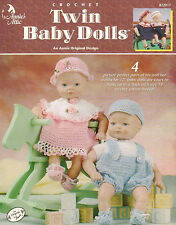 Twin Baby Dolls, Annie's Attic Crochet Clothes Pattern Booklet 872017 Dress Hat