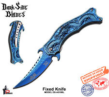 Dark Side Folding Knife Spring Ass. Blue Coated Mirror Blade & Handle DS-A019BL