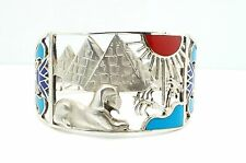 Vintage Egyptian Revival Wide Silver & Enamel Cut Out Cuff Bangle Bracelet