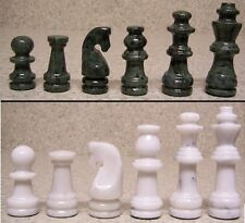 """Chess Set with Marble 16"""" Board & Green and White Pieces 3 3/8"""" kings NEW"""