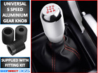 Universal Car 5 Speed Aluminum Shift Knob Manual Gear Stick Shifter Chrome Lever