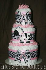 Black, White & Pink Zebra Diaper Cake Baby Girl Shower Gift