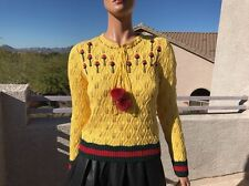 Gucci Fall 2016 Rose Embroidered Mink Pompom Wool Crochet Sweater Retail $1800