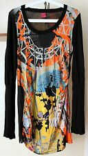 Ladies SAVE THE QUEEN Long Sleeve Multi Color Dress Size L Made In Italy