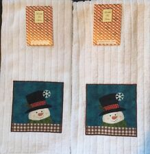 Set Of 2 White Snowman Christmas Kitchen or Bathroom Dish or Hand Tea Towels