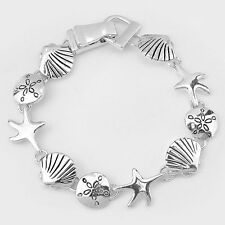 Starfish Bracelet Magnetic Clasp Metal Link Sand Dollar Sea Life SILVER Beach