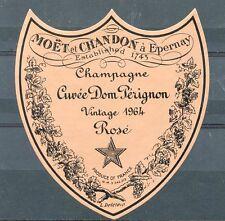 ETIQUETTE DE CHAMPAGNE / MOET & CHANDON CUVE DOM PERIGNON VINTAGE 1964 ROSE