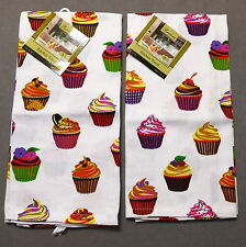 Linens TOWEL Dish Novelty Cupcake Multi NWT Lot of 2
