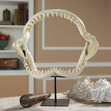 Beach Theme Nautical Decor Jaws Replica Shark Jaw Skeleton Museum Mounted Statue