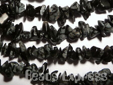 20g (~90pc) Natural Gemstone Chip Beads Chips - Snowflake Obsidian (GC08)