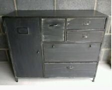 Shabby Vintage Industrial Black Sideboard Cabinet & Retro Storage Draws Urban