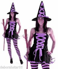 Ladies Sexy Purple Witch Halloween Fancy Dress Costume Size 12-14 M/L