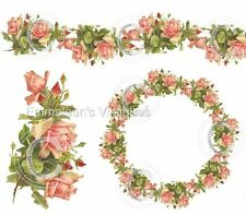 Vintage Image Shabby Victorian Klein Roses Wreath Swag Waterslide Decals FL321