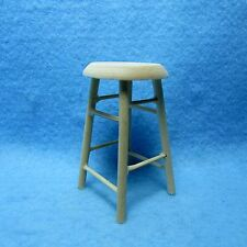 Dollhouse Miniature Wooden Bar Stool / Stool Unfinished / Natural ~ CLA08701