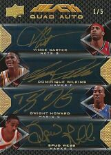 2008-09 Vince Carter Dominique Wilkins Dwight Howard Spud Webb UD BLACK AUTO 5