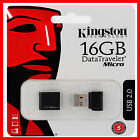 KINGSTON 16GB USB MICRO MEMORY STICK MINI PEN FLASH DRIVE CARD DTMCK