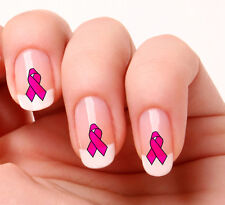 20 Nail Art Decals Transfers Stickers #20 - Cancer support  pink ribbon