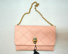 DOLCE & GABBANA PINK NAPPA LEATHER QUILTED CLUTCH CHAIN EVENING BAG BORSA