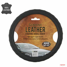 New Genuine Leather Car Truck Universal Fit Steering Wheel Cover - Color Black