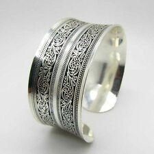 New Fashion Women Chinese Totem Bangle Cuff Bracelet Tibetan Tibet silver LAUS