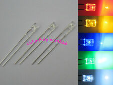 100pcs, 2x3x4mm Red Yellow Blue Green White LED Water Clear Rectangle Leds + R
