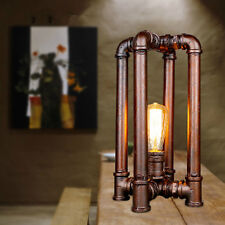 Vintage Industrial Bedside Table Lamps Desk Lamp Shade Rustic Water Pipe Light