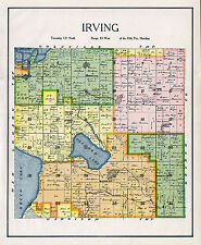 IRVING TOWNSHIP, KANDIYOHI COUNTY MINNESOTA, RARE 1905 COLOR LANDOWNERS MAP