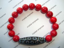 FENG SHUI - 21 EYE DZI WITH 10MM RED CORAL