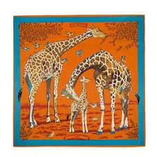 "Women's Twill Silk Square Scarf With the Pattern of Giraffe Family 51""*51"""