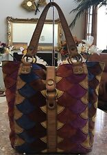 Lucky Brand Multi-Color Leather Suede Patchwork Slouchy Tote Shoulder Bag