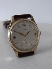 9CT GOLD GARRARD GENTS WRISTWATCH LONDON 1971 WORKING ORDER NEW STRAP BRS PARCEL