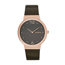 BRAND NEW SKAGEN SKW2368 FREJA ROSE GOLD BROWN LEATHER WOMEN'S WATCH