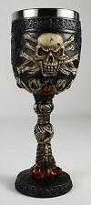 PAIR 2 SKULL GOBLETS Halloween Wine Glass Cup Horror Goth Biker NEW Skeleton