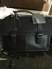 Kenneth Cole Reaction Brown  Leather Executive Laptop Briefcase Flap-py Go Lucky