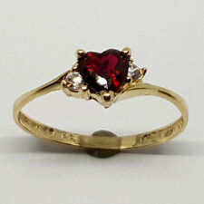 14K solid yellow gold 5mm red Garnet heart shape faceted white Topaz ring,size 7