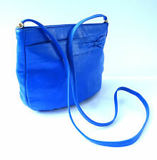 True Vintage Royal Electric Blue REAL LEATHER Shoulder Messenger Bag Suzy Smith