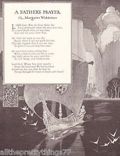 A FATHER'S PRAYER Poem Boy SAIL BOAT Water Birds  Vintage 1917 MATTED Picture