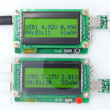 Dual USB charging detector Battery Capacity time Current Voltage mA power watts
