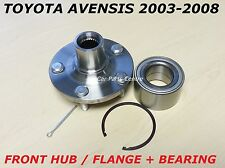 FOR TOYOTA AVENSIS T25 1 FRONT WHEEL HUB FLANGE LEFT RIGHT SIDE and BEARING KIT